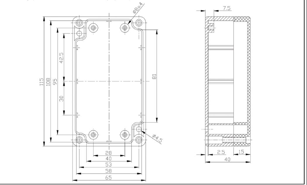 ABS behuizing 115 x 65 x 40 mm