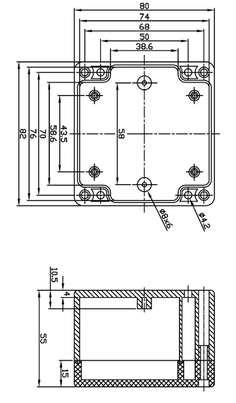 ABS behuizing 82 x 80 x 55 mm