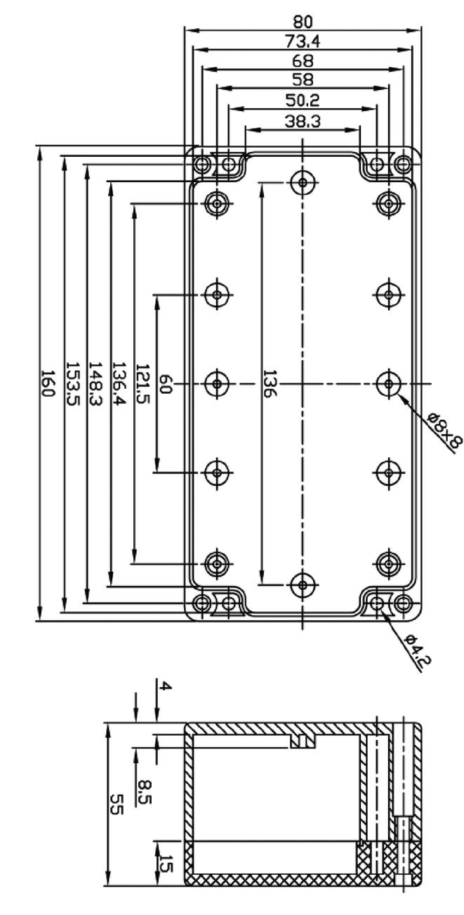 ABS behuizing 160 x 80 x 55 mm