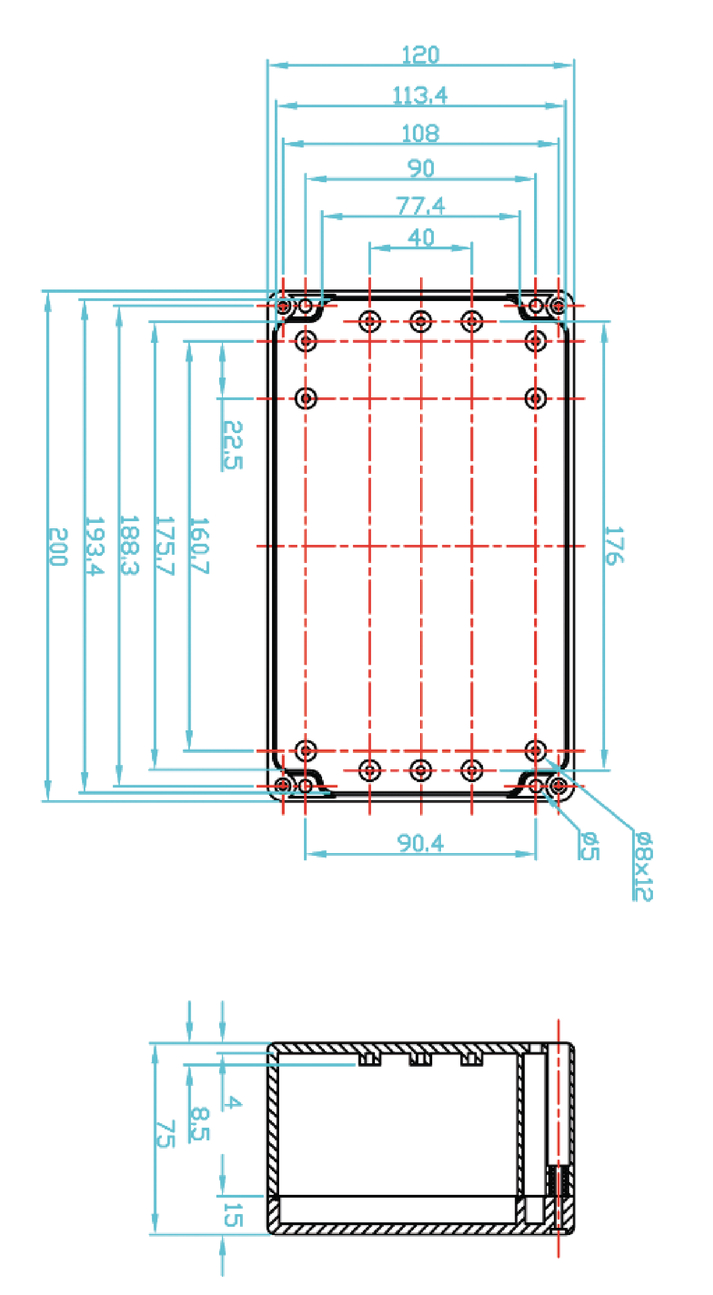 ABS behuizing 200 x 120 x 75 mm