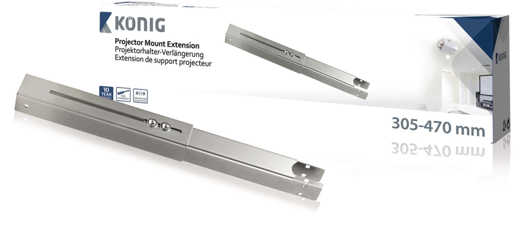 Konig Projectorbeugel verlenger 305-470 mm zilver (KNM-PME11)
