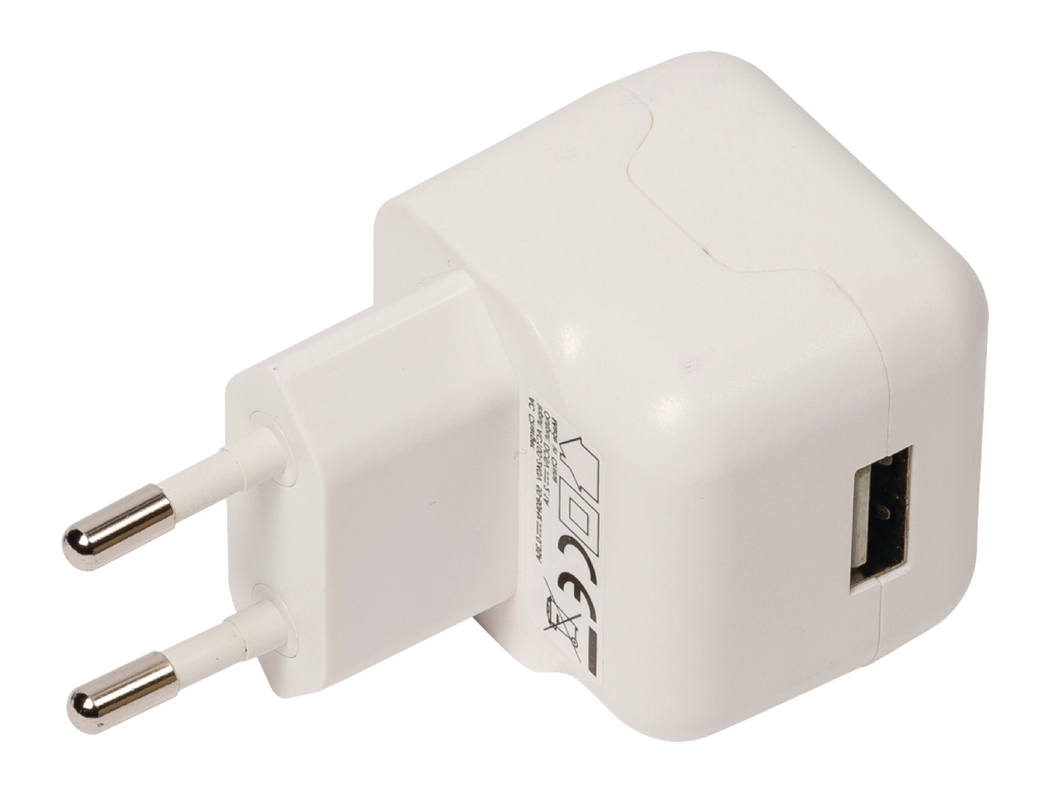 USB-lader USB A female AC-huisaansluiting wit 2.1A