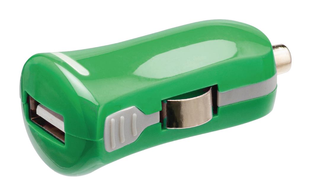 USB-autolader USB A female 12V-autoaansluiting groen