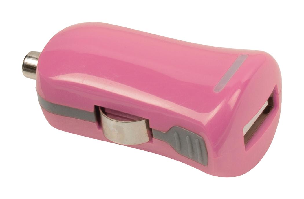 USB-autolader USB A female 12V-aansluiting roze