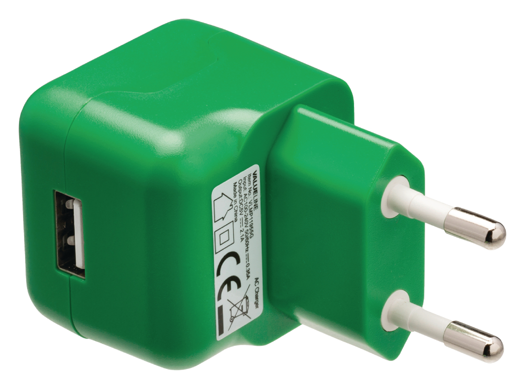 USB-lader USB A female AC-huisaansluiting groen