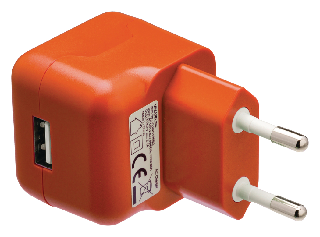 USB-lader USB A female AC-huisaansluiting oranje