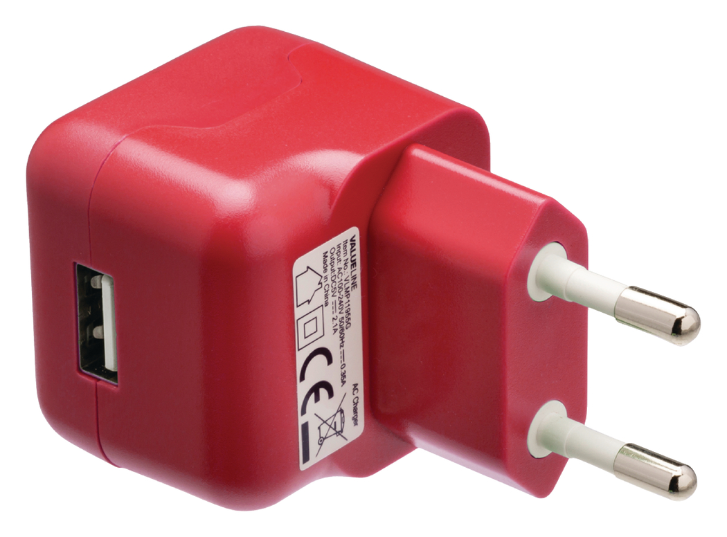 USB-lader USB A female AC-huisaansluiting rood