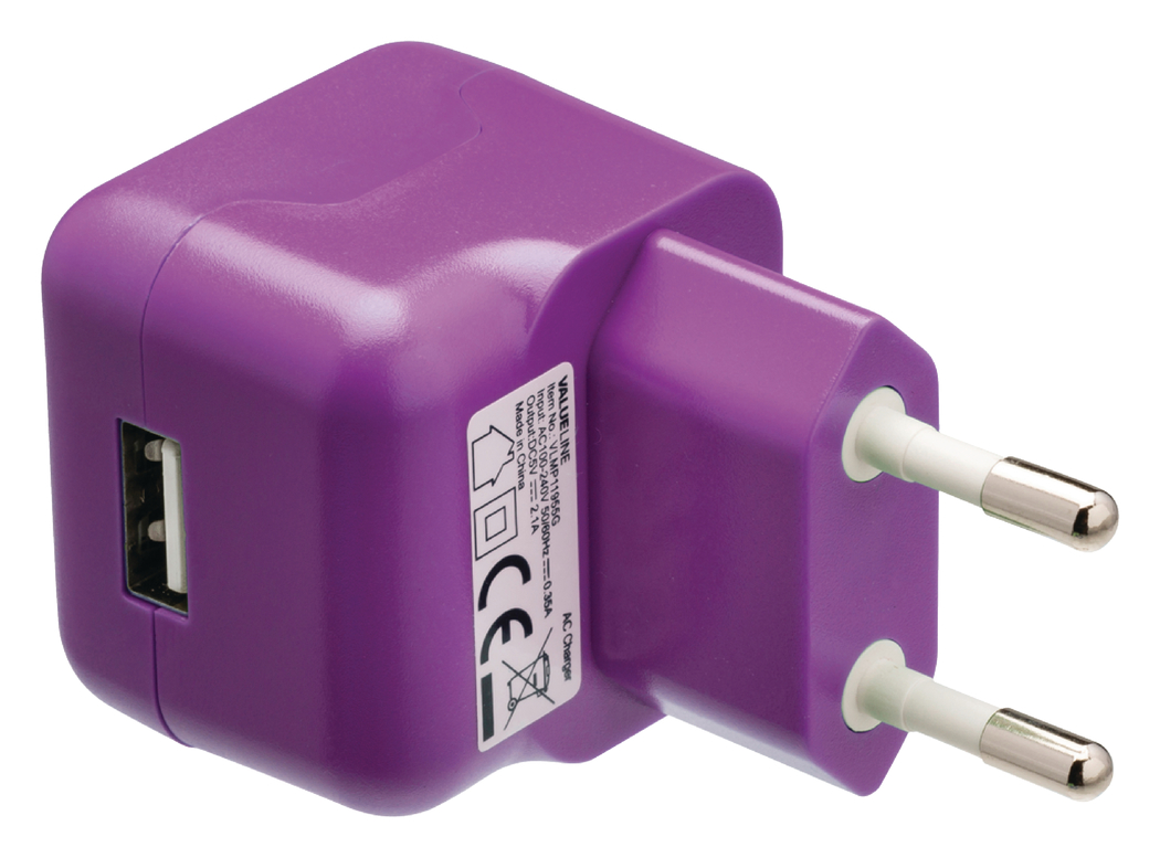USB-lader USB A female AC-huisaansluiting paars