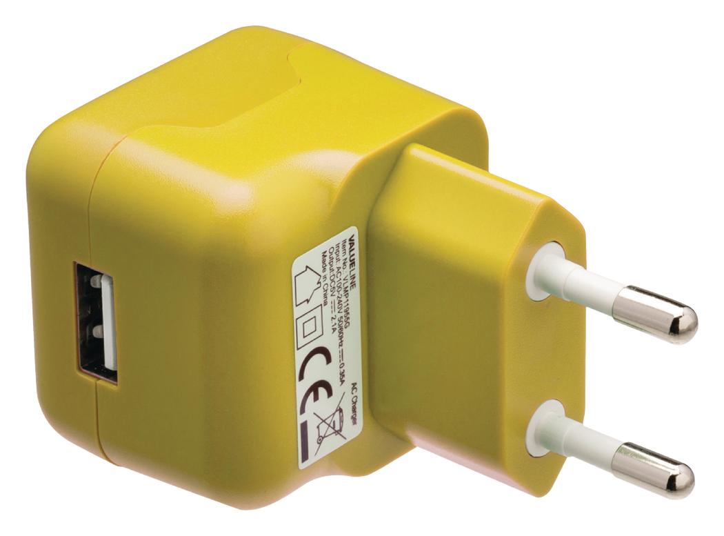 USB-lader USB A female AC-huisaansluiting geel