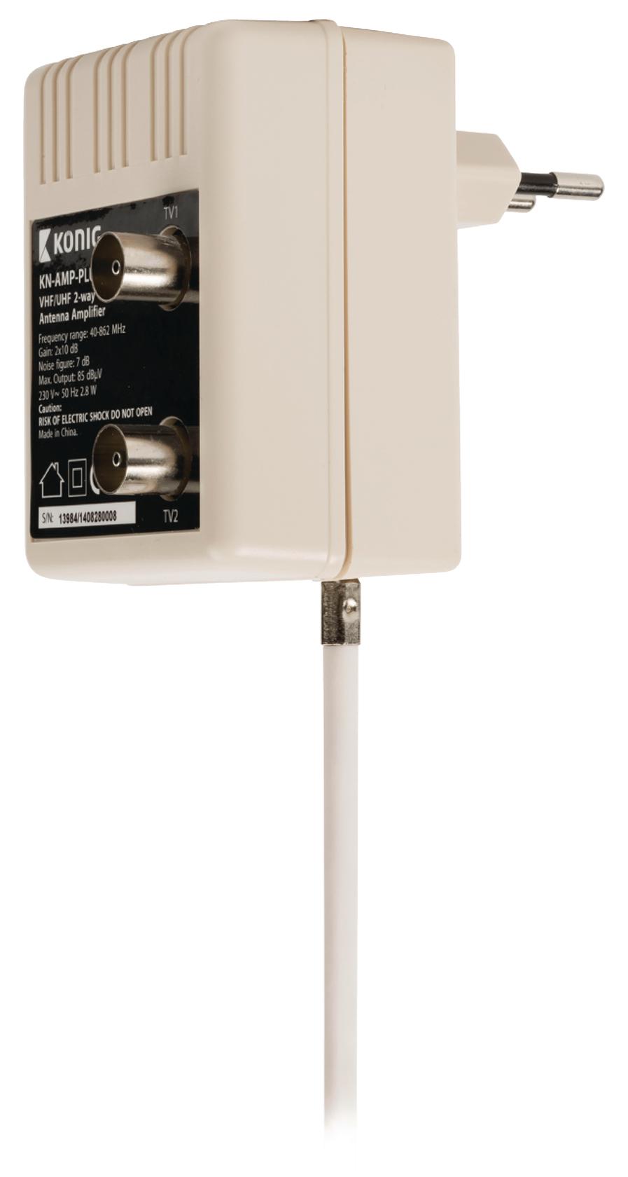 Konig Plug-in TV-versterker 10 dB, 2 uitgangen (KN-AMP-PLUG)