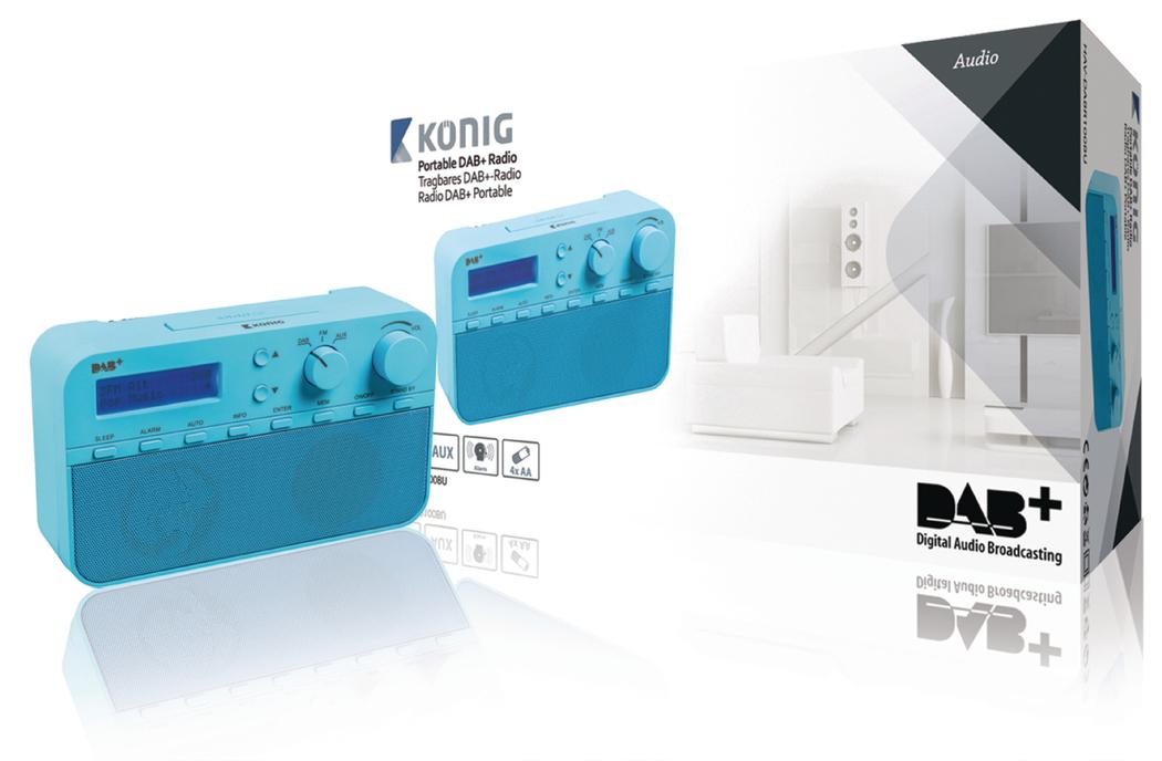 DAB+ radio 20 voorkeurzenders en alarmklok blauw