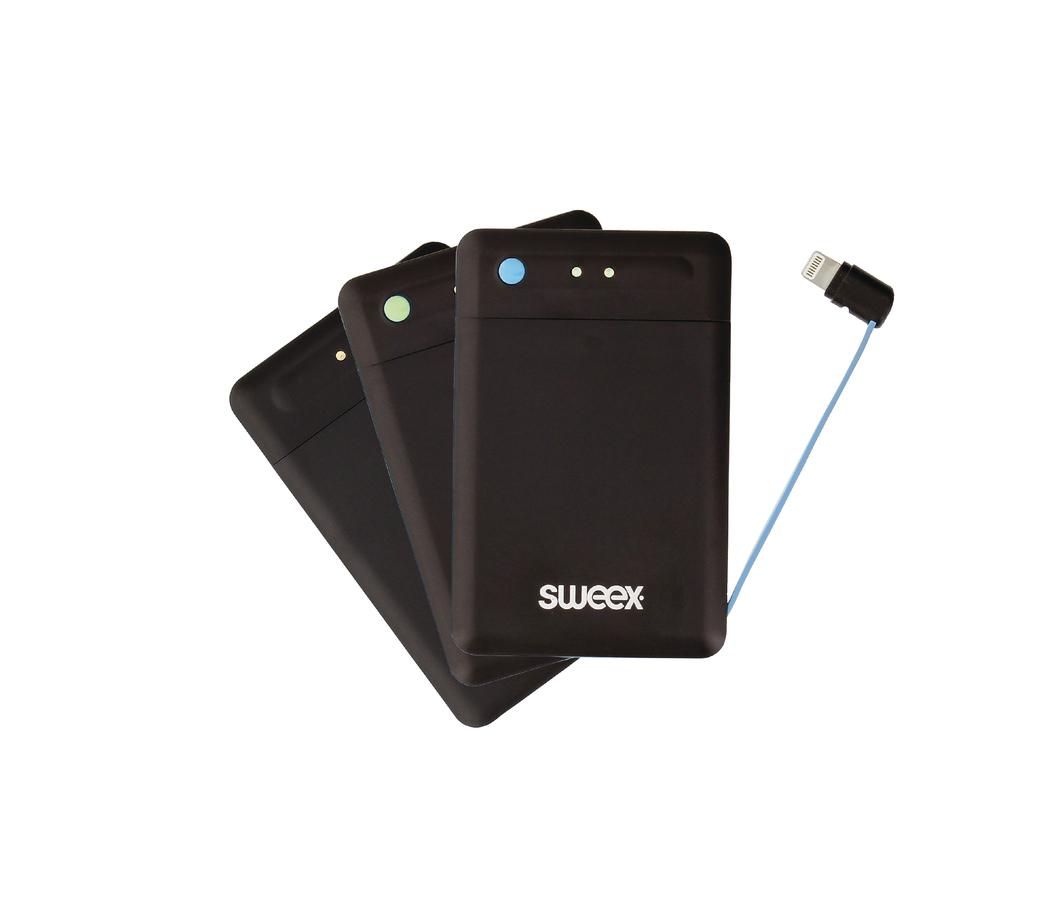 Powerbank set ultradun 2x 2500 mAh ge�ntegreerde Lightning kabel + laad-pad