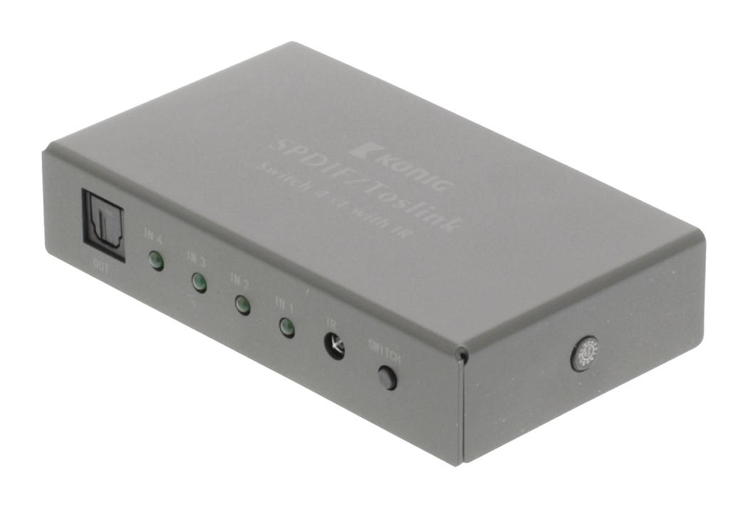 Digitale audio-switch 4-wegs TosLink 4x female 1x female donkergrijs