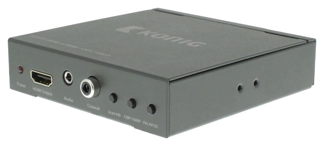 SCART + HDMI HDMI-schakelaar-converter SCART + HDMI-ingang HDMI-uitgang donkergrijs