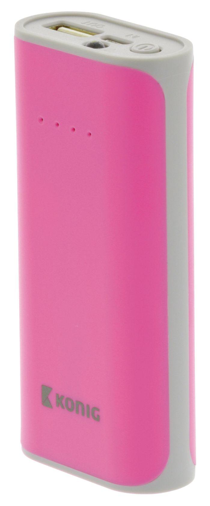 Draagbare Powerbank 5000 mAh USB Roze-Grijs