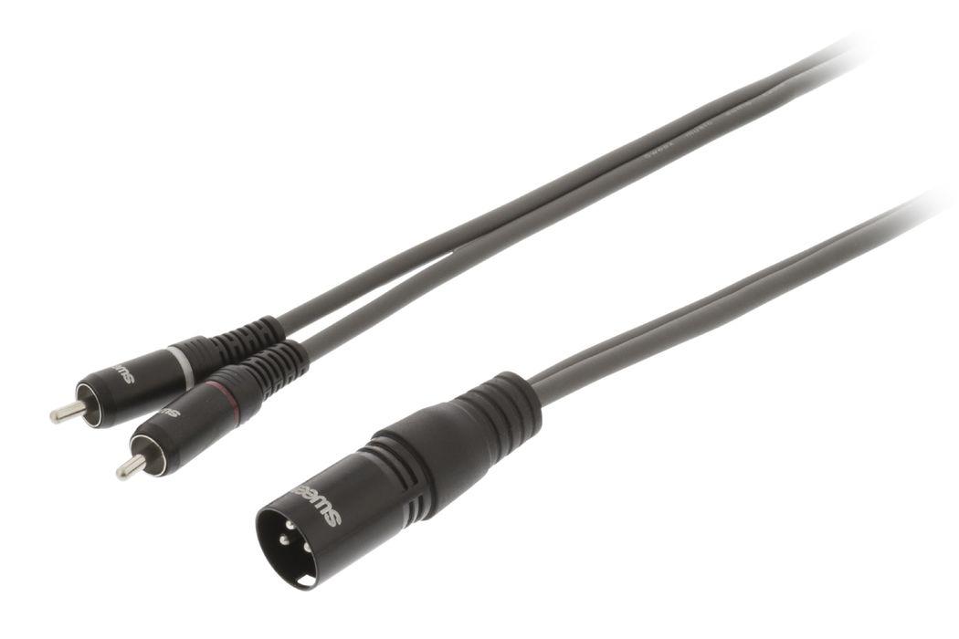 XLR Stereokabel XLR 3-Pins Male 2x RCA Male 10.0 m Donkergrijs