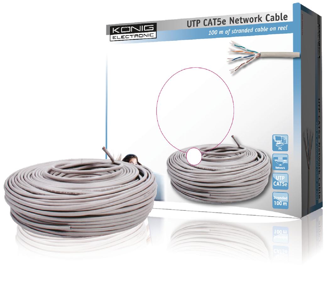 UTP CAT 5e flexibele netwerkkabel op 100 m rol