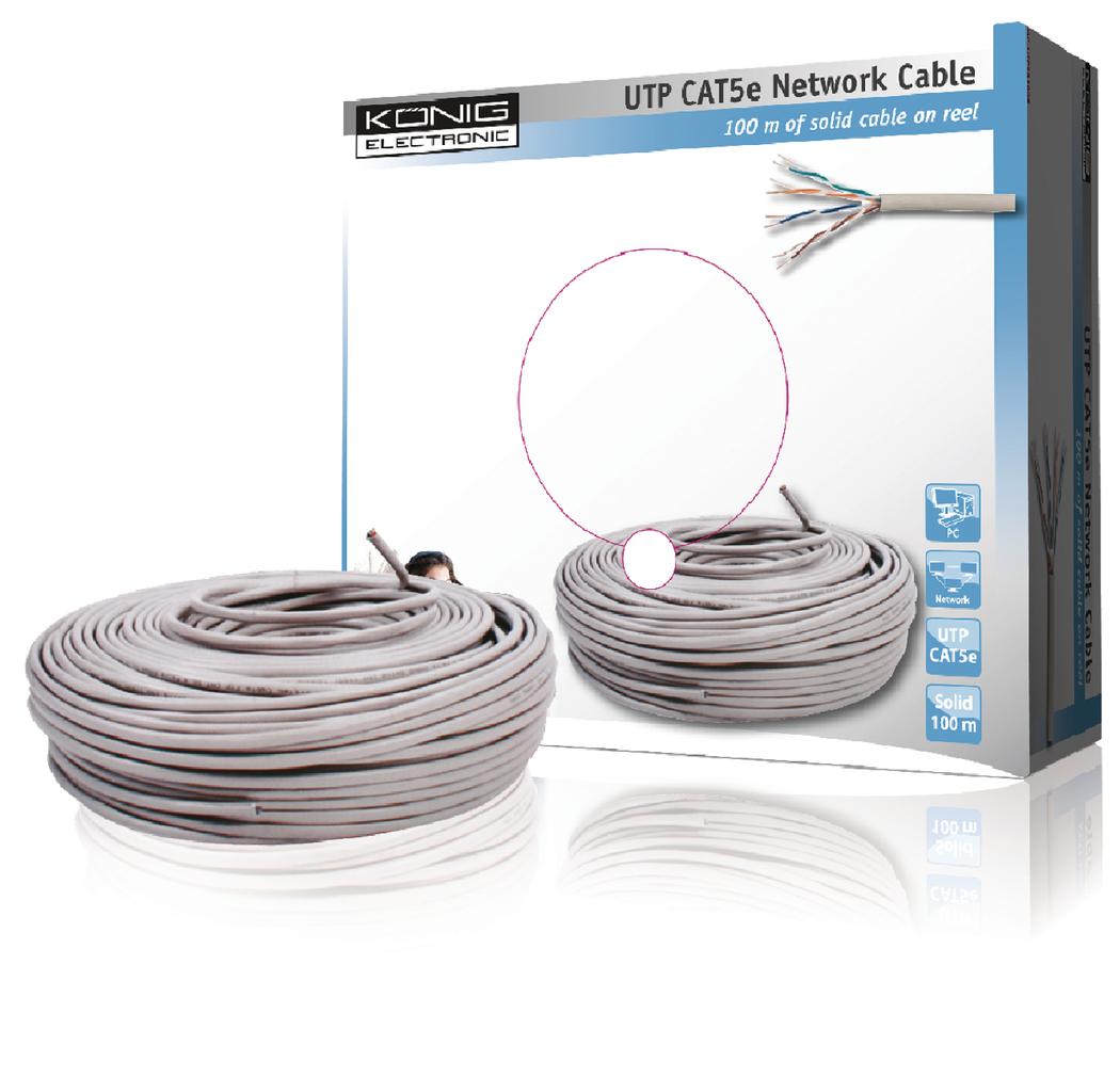 UTP CAT 5e solide netwerk kabel op rol van 100 m