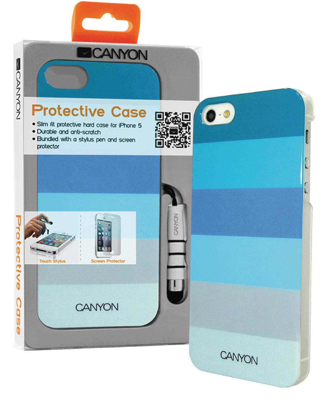 Canyon Cna-i5c02 bl Iphone 5 Hard Cover Case met Stylus en Screen Protector Blauwtinten