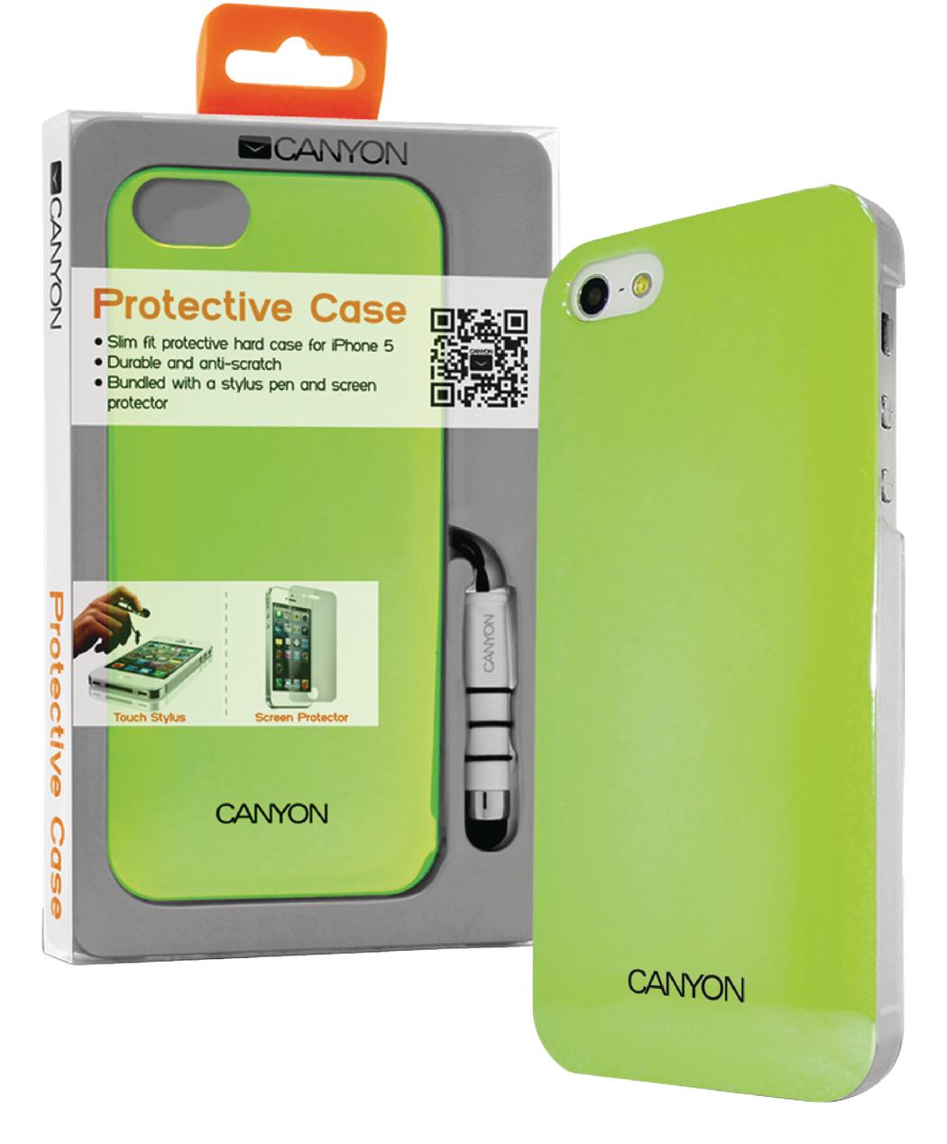 Canyon Cna-i5c03g Iphone 5 Hard Cover Case met Stylus en Screen Protector Groentinten