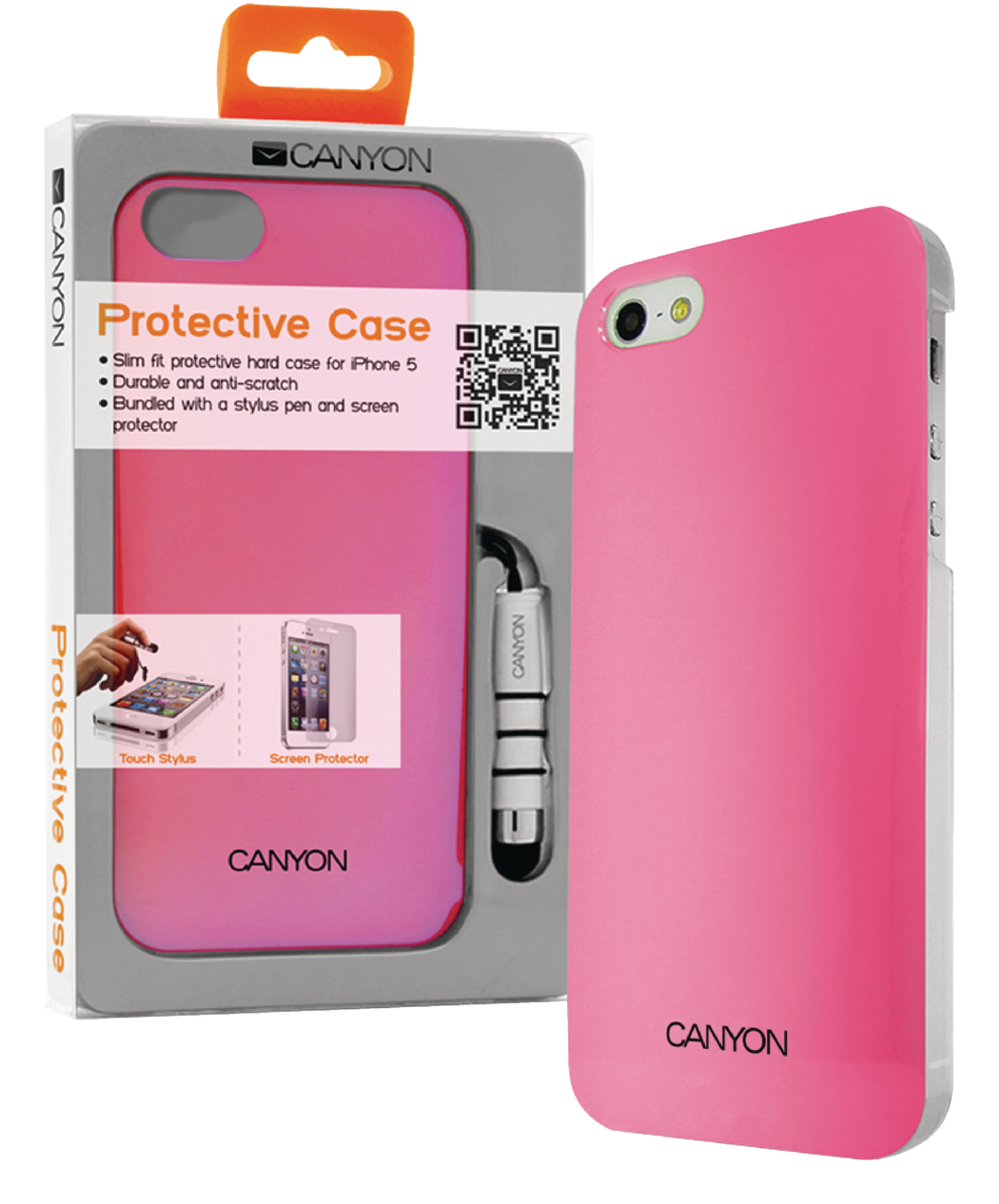 Canyon Cna-i5c03p Iphone 5 Hard Cover Case met Stylus en Screen Protector Roze