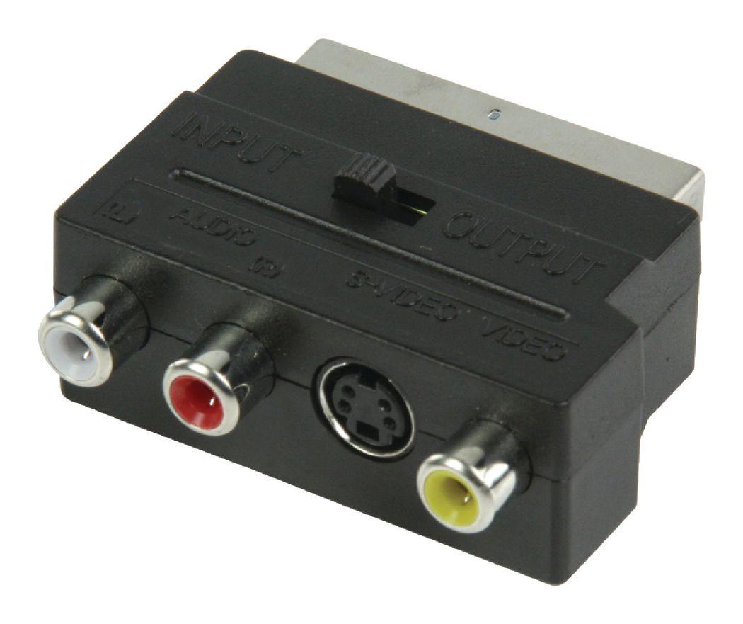Schakelbare SCART AV-adapter SCART mannelijk 3x RCA vrouwelijk + S-Video vrouwelijk zwart