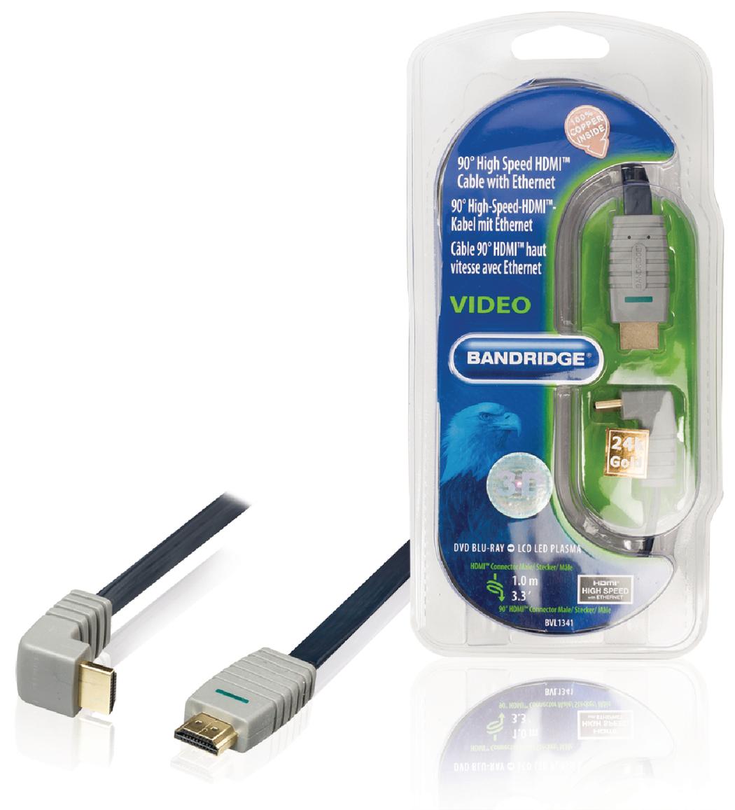 Platte 90° Gehaakte Hoge Snelheids Hdmi Kabel Met Ethernet 1.0 M