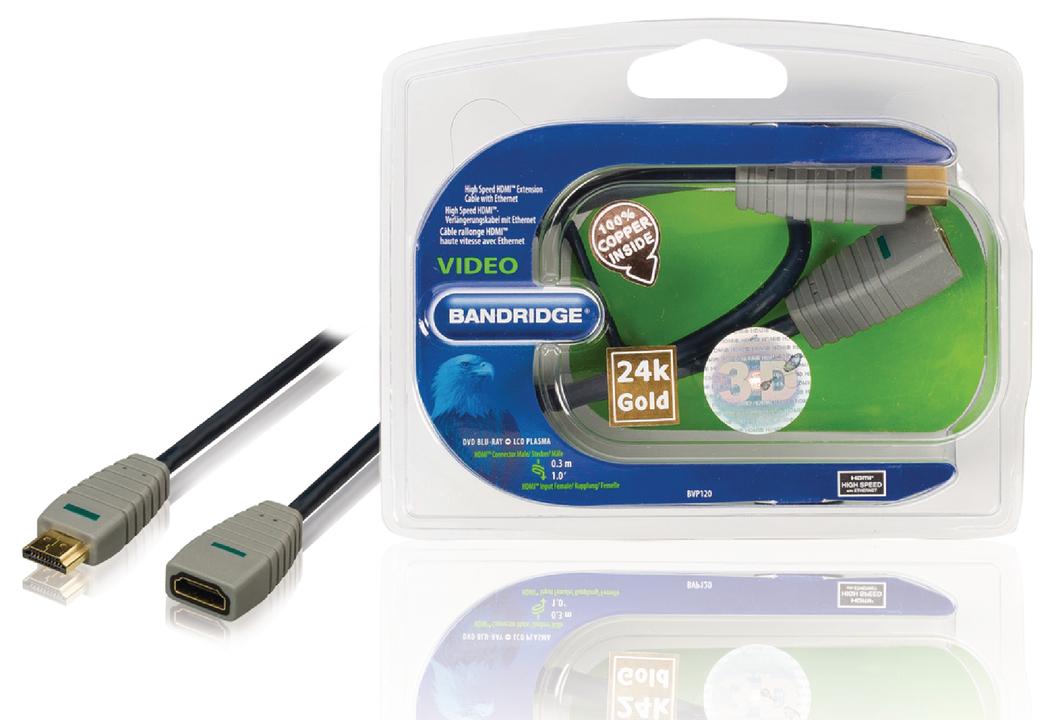 High Speed Hdmi-verlengkabel Met Ethernet Hdmi-connector Hdmi-ingang 0,3 M Blauw