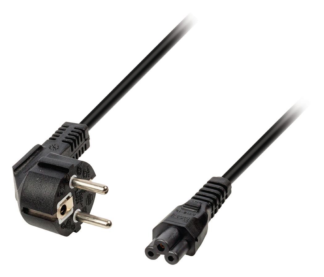Stroomkabel Schuko gehoekt mannelijk IEC-320-C5 3,00 m zwart