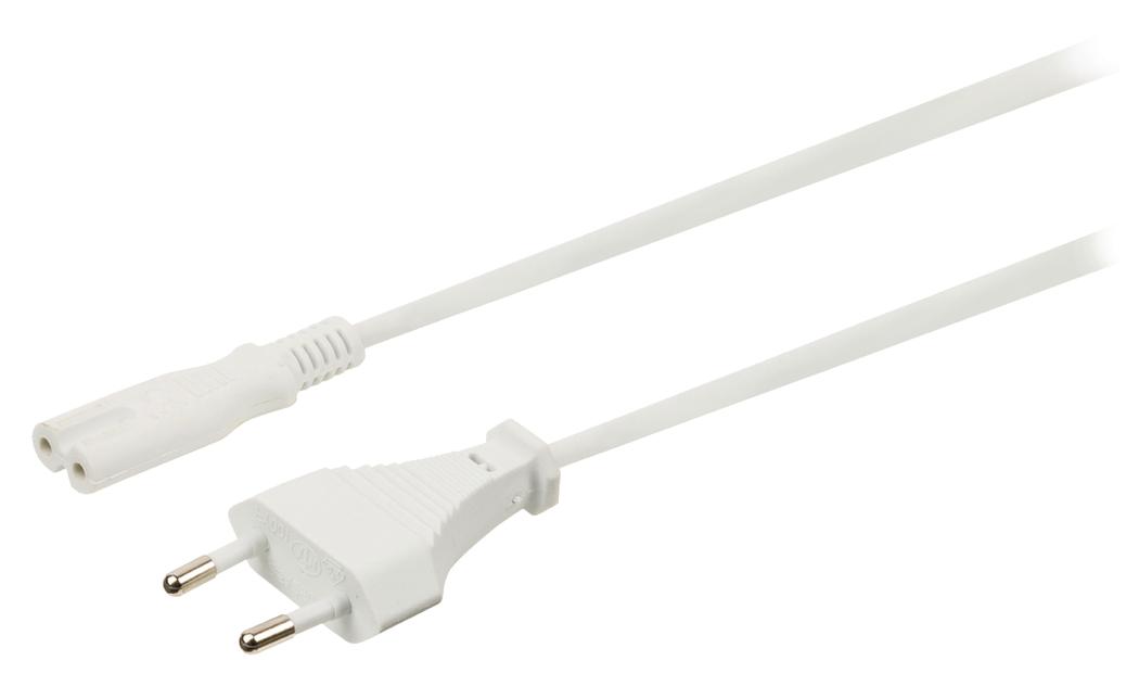 Stroomkabel Euro-plug mannelijk IEC-320-C7 5,00 m wit