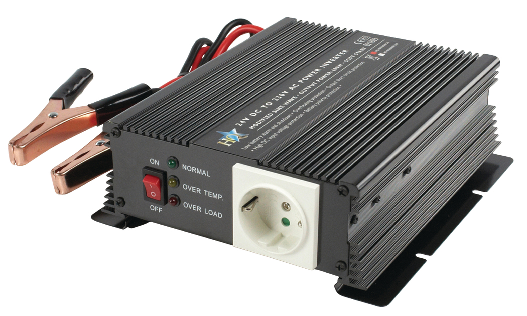 HQ INV600W-24F Omvormer 600W 24V>230V + Ingebouwde Acculader